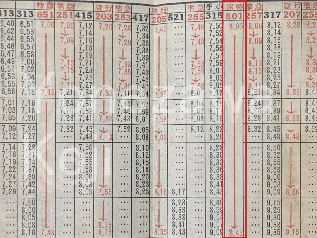 阪和電鉄時刻表超特急赤枠入
