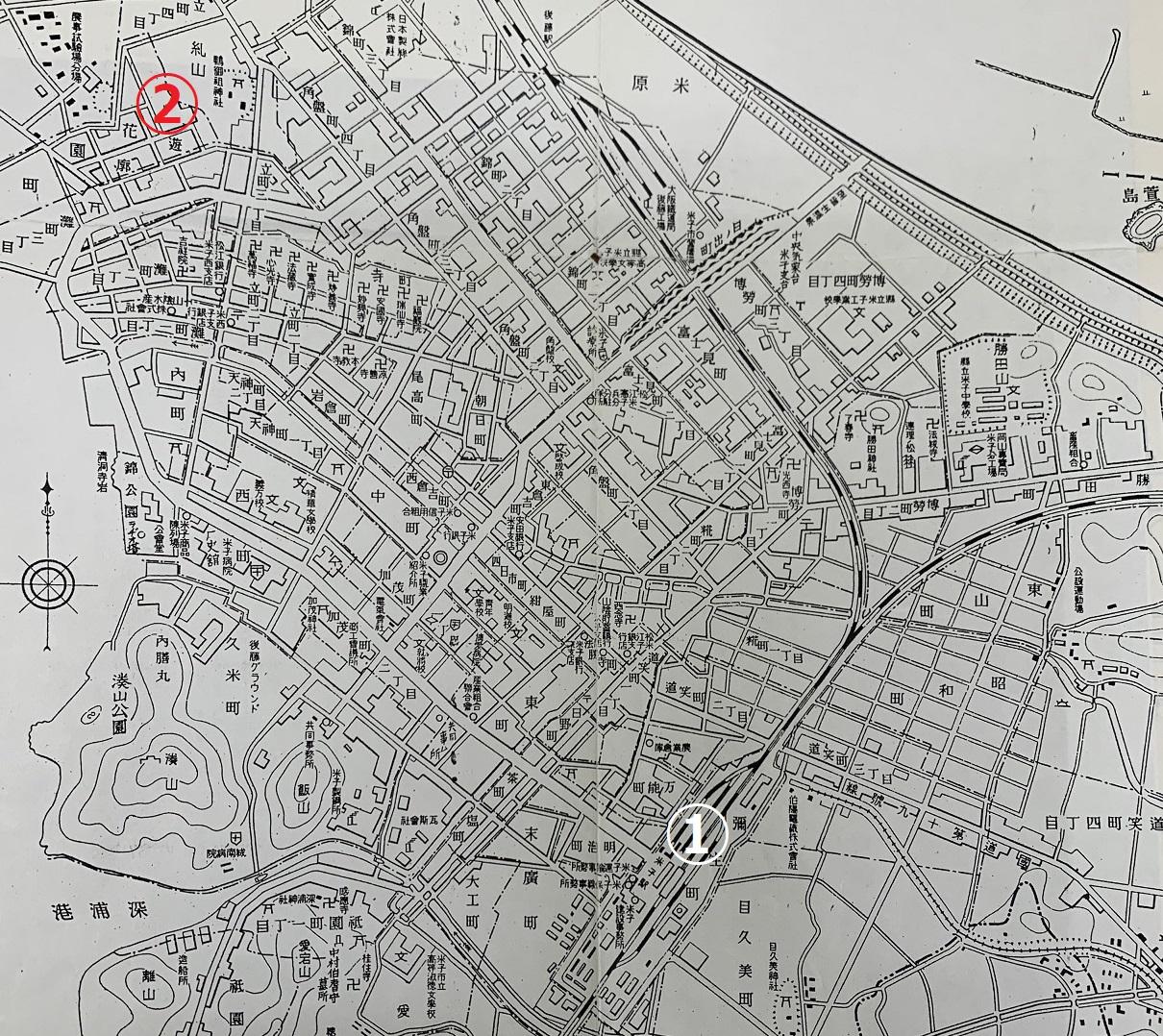 昭和初期米子市地図