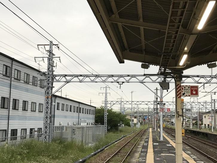 阪和線長滝駅阪和電鉄時代の架線柱1