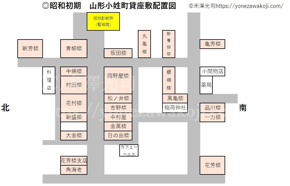 昭和初期山形小姓町貸座敷配置図