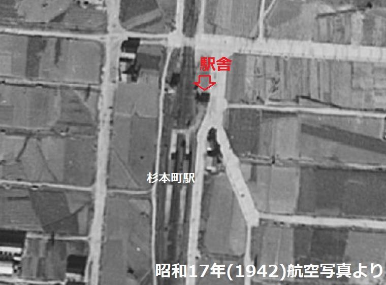 戦前杉本町駅航空写真