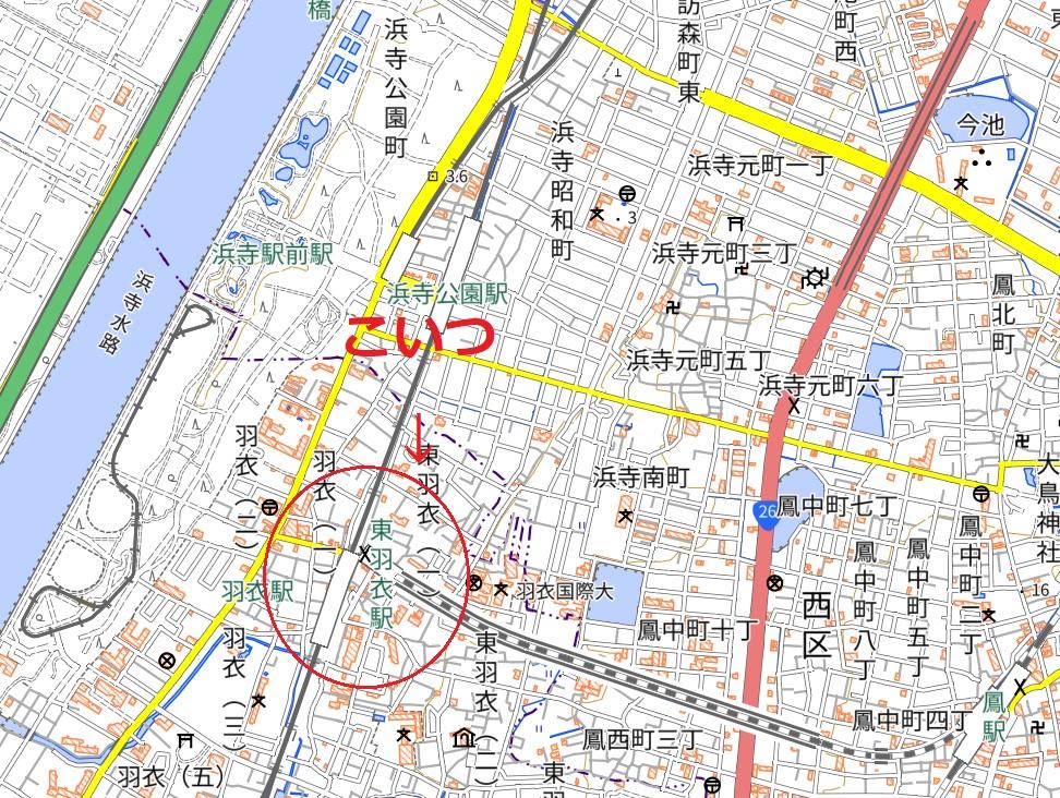 JR阪和線の東羽衣駅の地図