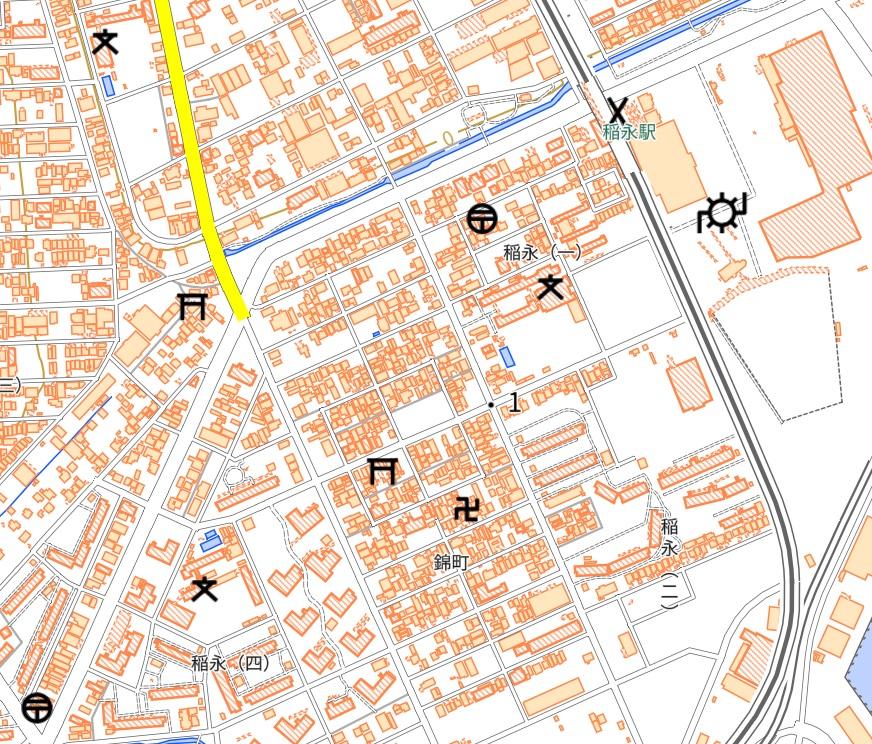 錦町の稲永遊郭跡地図