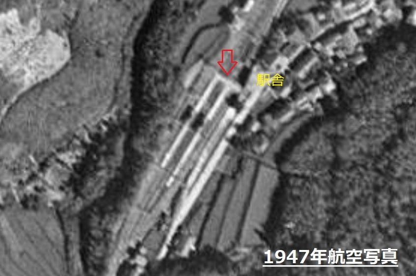 戦後間もない山中渓駅航空写真