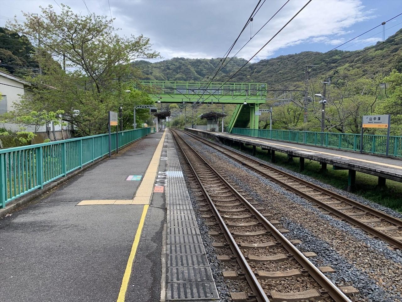 阪和線の山中渓駅ホーム