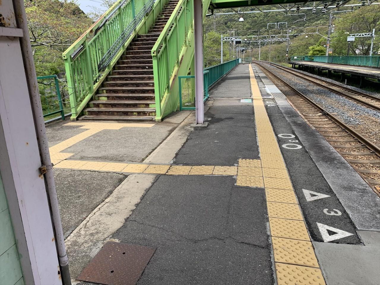 阪和線山中渓駅の上り線ホーム
