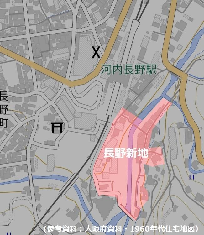河内長野の遊郭の地図