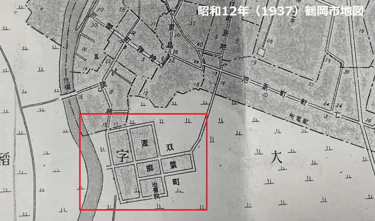 鶴岡遊郭の地図