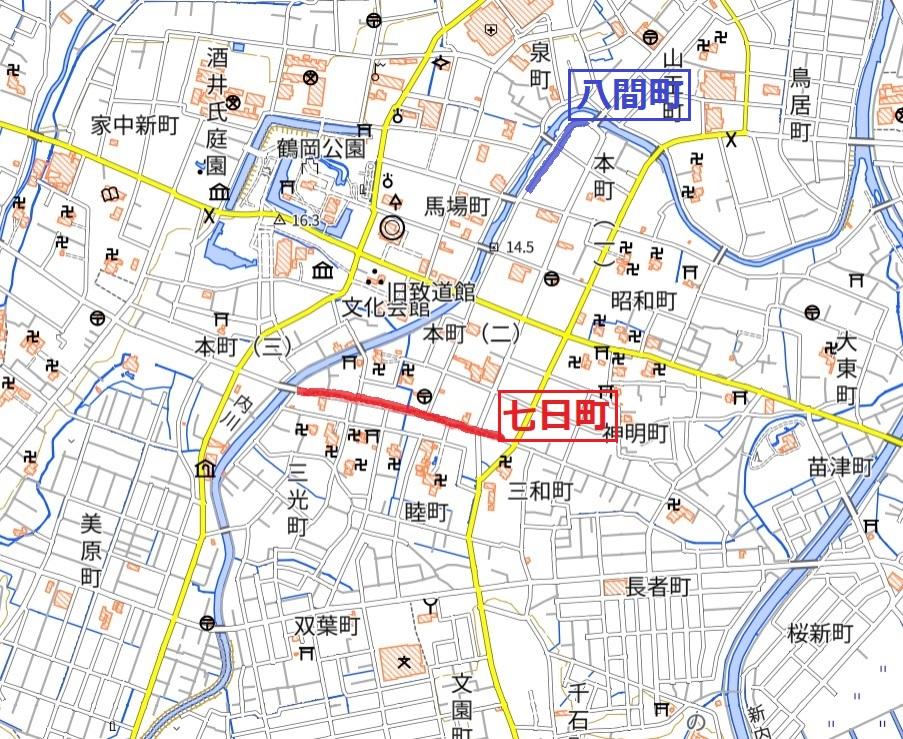 鶴岡の遊郭と七日町と八間町