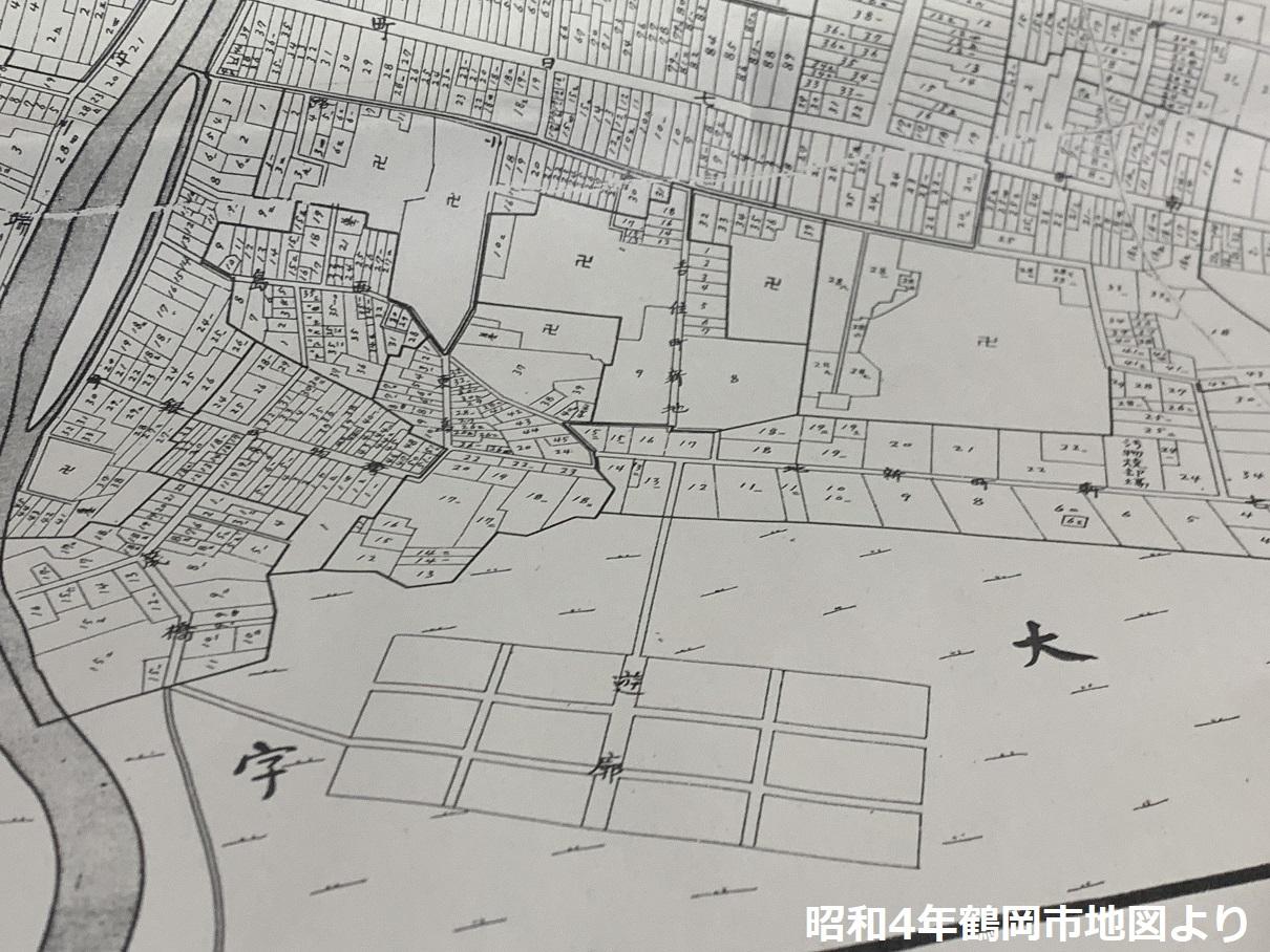 鶴岡の遊郭の地図